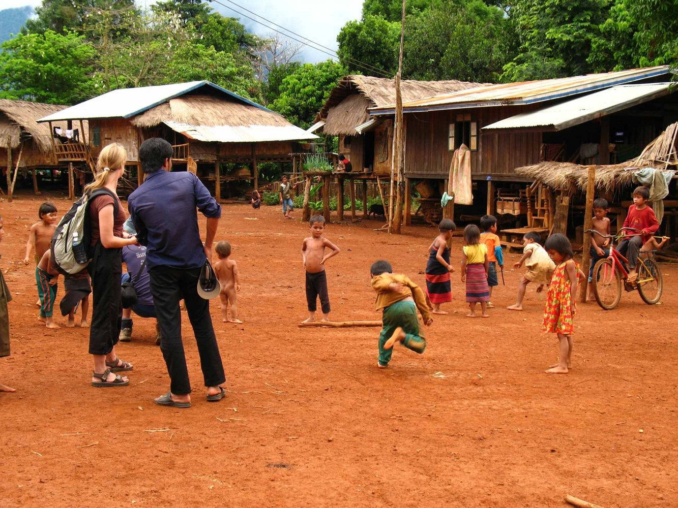 Kids playing at lao traditional village