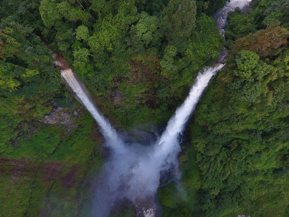 Tad Fane Waterfall from the air