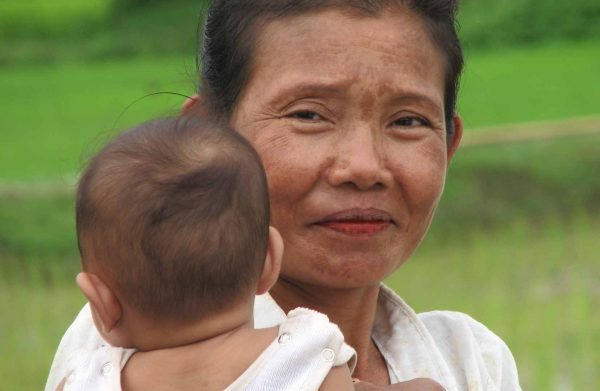 Lao women with a child