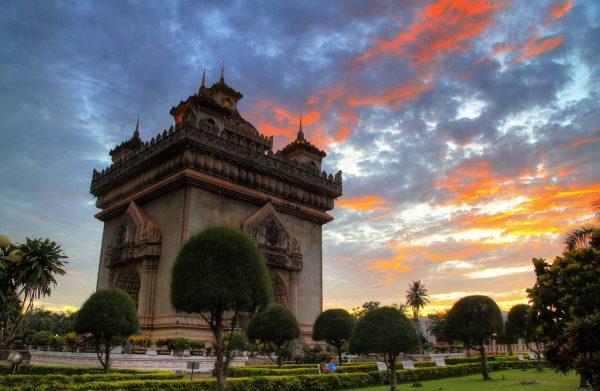 Patuxai Monument at sunset