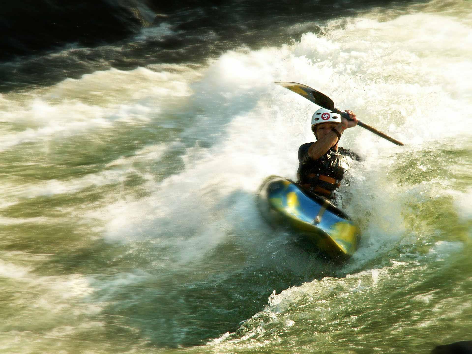 kayaking on white water