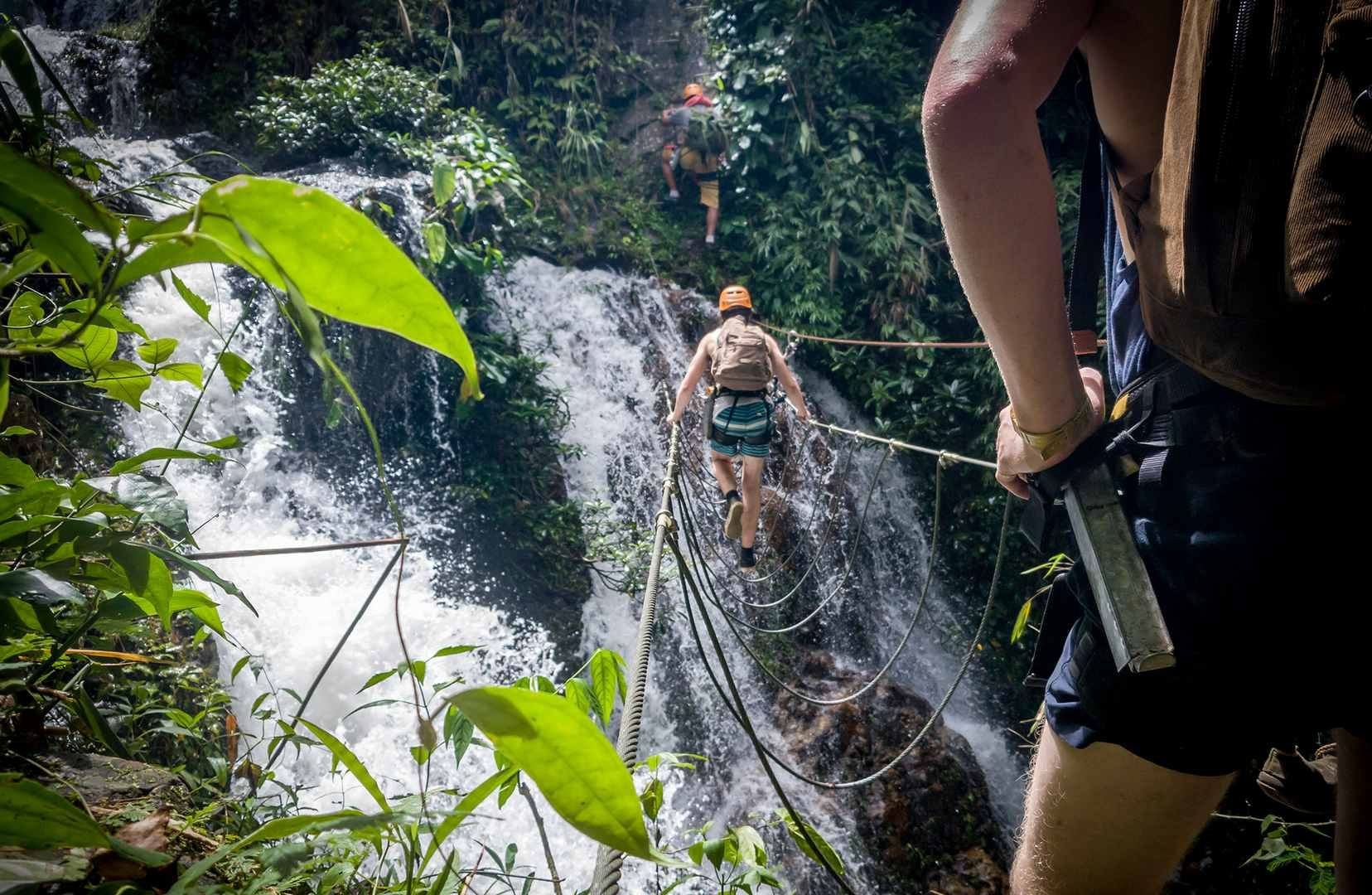 waterfall bridge on Vang Vieng Challenge