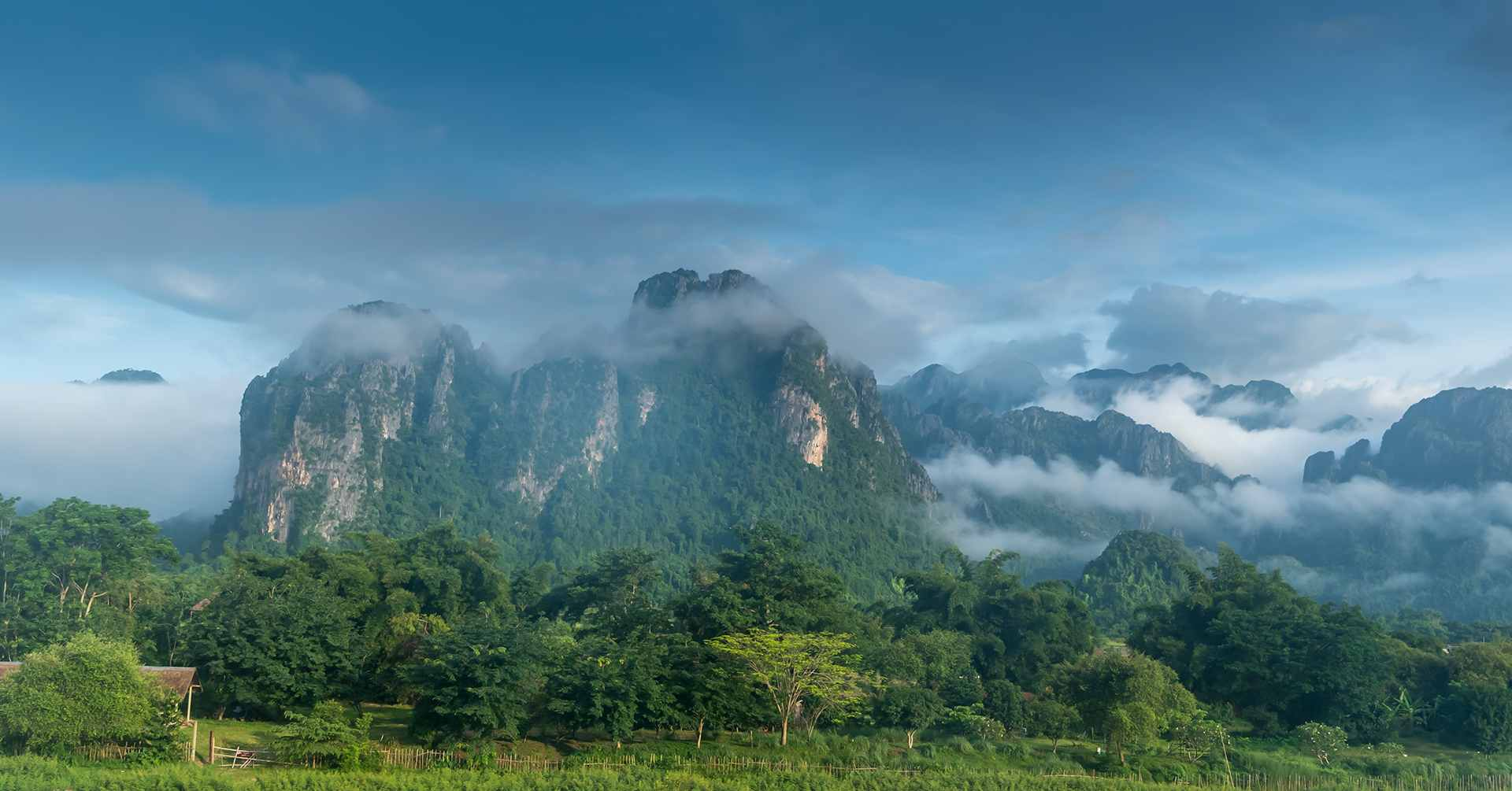 view of Vang Vieng mountains and clouds