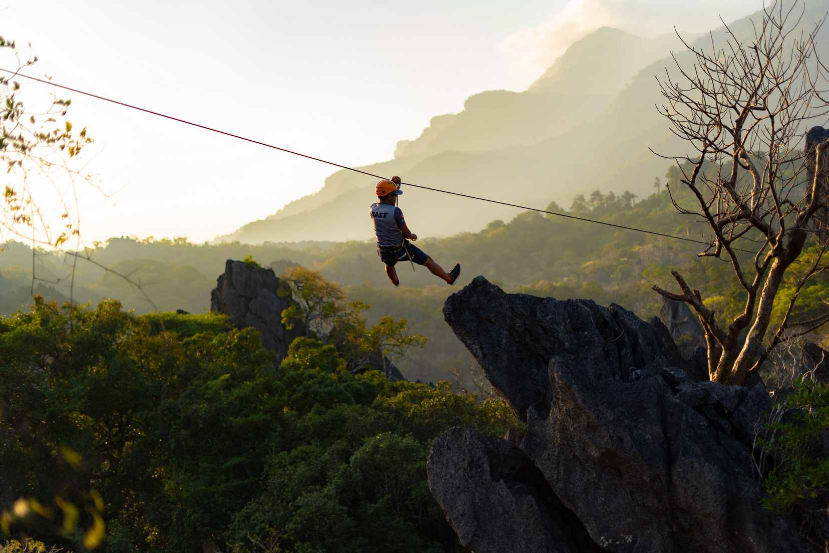 zip lining over the limestone Forrest